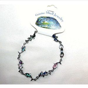 Fashion Bracelet Genuine Paua Shell Sea Dolphins